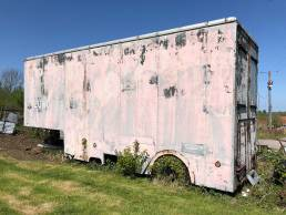Disused, faded pink removal van body with no cab. Brambles growing out of where the wheels once were