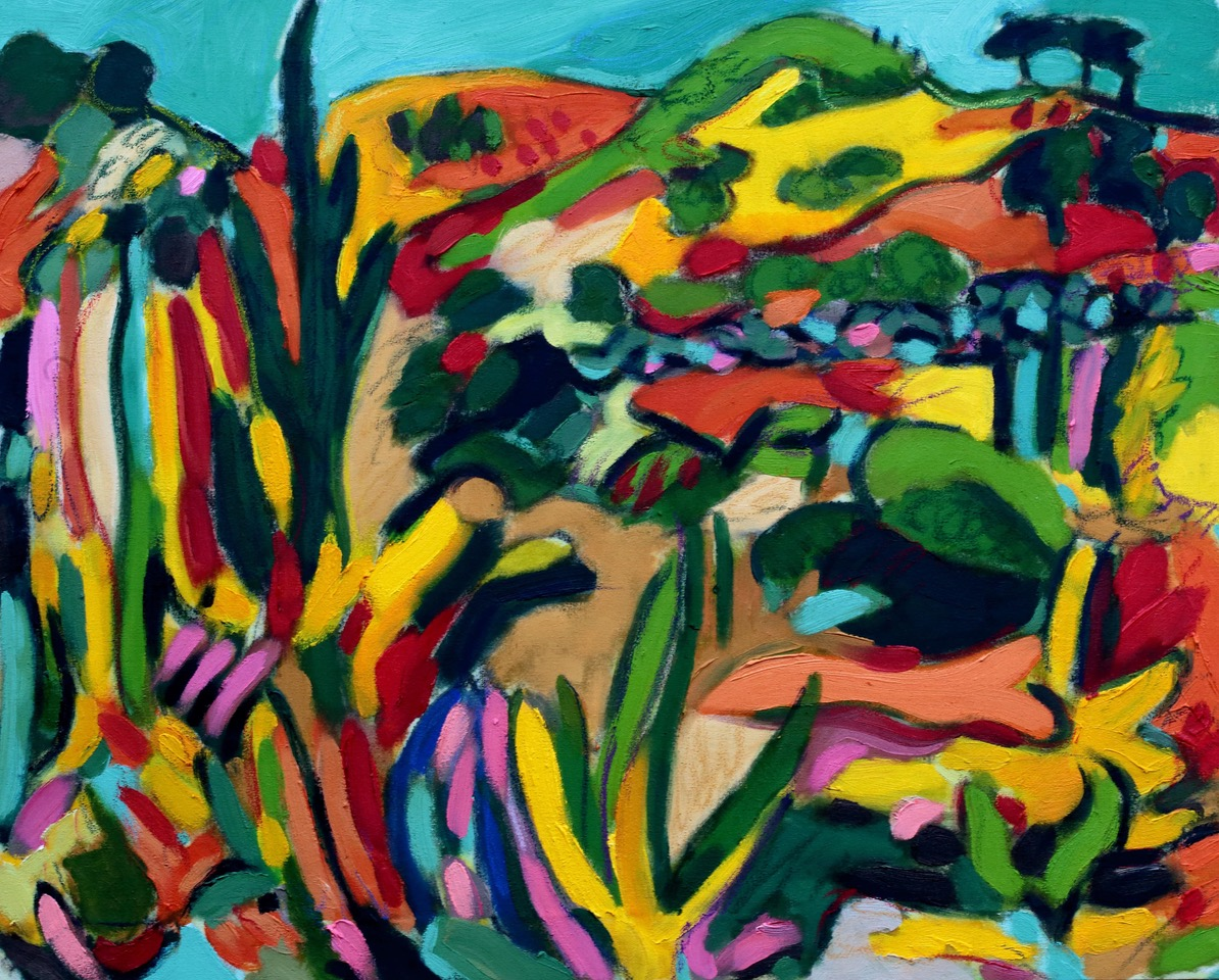 Bright and colourful bold brush strokes of turquoise, yellows and oranges of a painted landscape from Malia in SPain