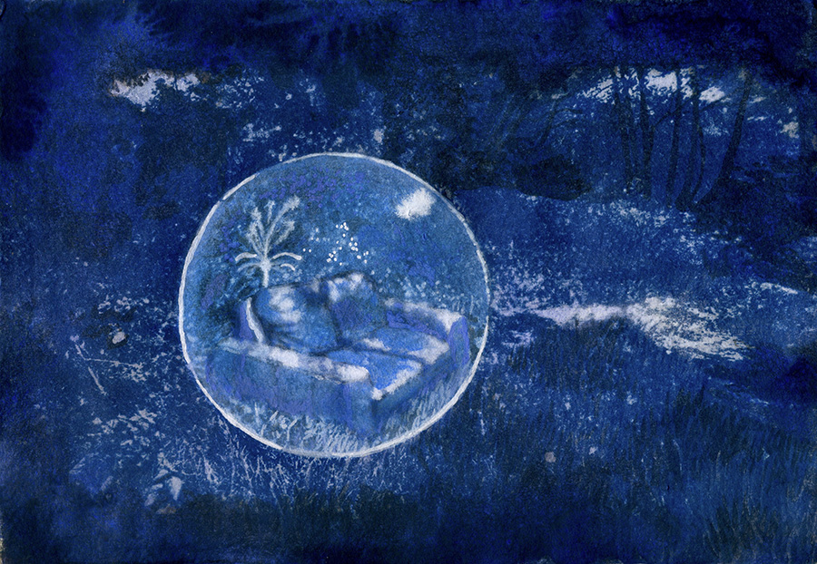 cyanotype blue image with a sofa inside a bubble on a grassey bank